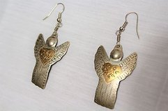"""Silver Gold Two Tone Angel Heaven Religious Tin Engraved Drop Dangle Hook  2 1/2"""" in Kingwood, Texas"""