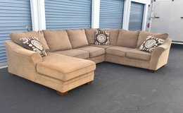 Tan Brown Neutral Sectional Couch w/ Throw Pillows in Camp Lejeune, North Carolina