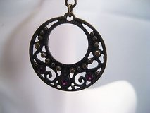 Bronze Tone Filigree Purple Stone Lever Back Fashion Trendy Drop Dangle Hook in Kingwood, Texas