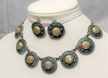 Vintage demi parure set blue turquoise stone native indian sw necklace earrings in Kingwood, Texas