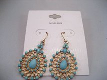 Gold tone turquoise tear drop native indiana fashion earrings drop dangle hook in Kingwood, Texas