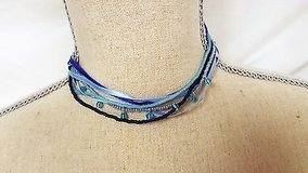 """nwt express 14"""" blue sky navy royal multi strand statement pendant chain bead in Kingwood, Texas"""