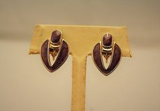 "collectible retro purple enamel 1"" oval teardrop clip on earrings gold tone in Kingwood, Texas"