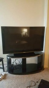 PLASMA HI DEFINITION PANASONIC TV 65  SWIVAL STAND TWO SHELVES in Great Lakes, Illinois