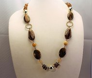 "Bronze tone brown tan beige bead 30"" long necklace pendant statement chain in Kingwood, Texas"