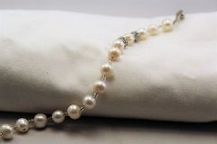 """White bead antiqued silver tone statement chain bangle toggle 8"""" faux pearl in Kingwood, Texas"""