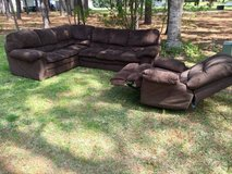 Brown Sectional Couch and Matching Recliner in Camp Lejeune, North Carolina
