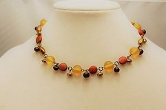 """Nine West red orange yellow brown bead 16"""" bronze tone necklace statement chain in Kingwood, Texas"""