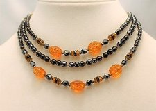 "Vintage black orange 16"" gold tone western germany bead multi strand necklace in Kingwood, Texas"