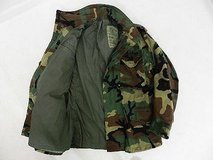m-65 military woodland field jacket bdu cold weather hunt large long w/ patches 51096 in Fort Carson, Colorado