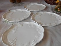 Vintage  Harvest Grapes Milk Glass Snack Plates    Set of 4. in Bellaire, Texas
