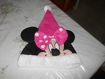 Disney Minnie Mouse Face Pink Santa Hat Cap With Bow in Bellaire, Texas