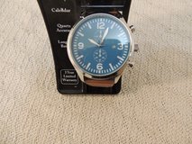 aqua face brown band watch large numbers analog easy read dial 3 year warranty 51180 in Fort Carson, Colorado