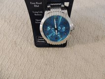 quartz silver & aqua watch large numbers analog easy read dial 2 year warranty 51174 in Fort Carson, Colorado
