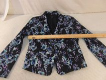 womens ann taylor black blue white tie dye 12 polyester lined blazer 33974 in Fort Carson, Colorado