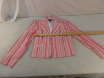 womens new york city design co. pink white green striped 8 poly blazer 33973 in Fort Carson, Colorado