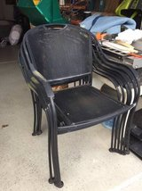 ~SIX METAL BLACK STACKABLE PATIO CHAIRS~ in Morris, Illinois