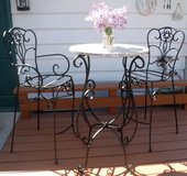 Wrought Iron & Granite Cafe / Bistro Patio - Pub height Table 2 Chairs in Lockport, Illinois