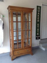 Oak display cabinet good condition in Lockport, Illinois