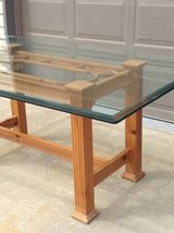 Pine table with glass top good condition in Chicago, Illinois