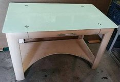Glass Top Office Desk with pull out keyboard tray - $100 in Fort Lewis, Washington