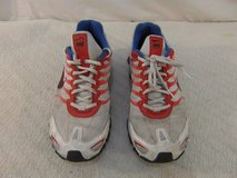 men;s nike+ id white blue red shox 11.5 lace up athletic running shoes 34090 in Huntington Beach, California