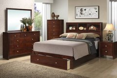 New Rich Cherry KING Bed Frame and Storage FREE DELIVERY in Miramar, California