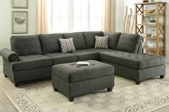 New Dorris Fabric Ash Black Reversible Sectional Sofa  FREE DELIVERY in Camp Pendleton, California