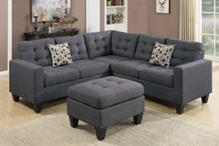 ✱New Blue Gray Linen Sofa Sectional and Ottoman FREE DELIVERY* in Vista, California