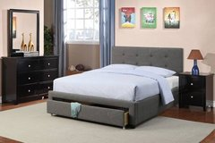 New QUEEN  Charcoal Linen Storage Bed Frame DELIVERY in Vista, California