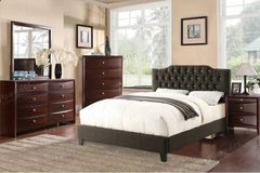Queen Black Leatherette Bed Frame + Chest + Nightstand FREE DELIVERY in Vista, California