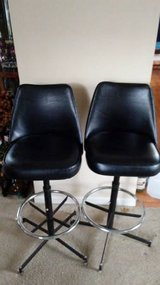 Vintage Mid Century Admiral Chrome Co. Black Swivel Bar Stools Chairs in Glendale Heights, Illinois