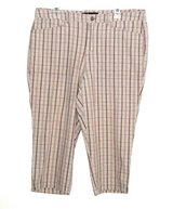 "Gloria ""V"" Vanderbilt Plaid Capri Pants Womens Plus 16w Brown Beige Tan White in Yorkville, Illinois"