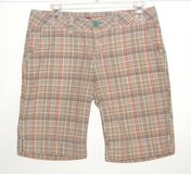 Unionbay Golden Yellow Orange Plaid Bermuda Shorts Womens 7 Juniors in Chicago, Illinois
