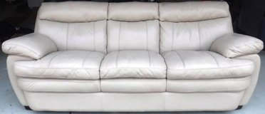 """Comfy Leather Couch ~ Beige 90"""" in Lockport, Illinois"""