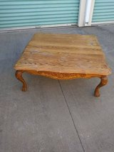 Solid wood large square coffee table Ralph Lauren POLO style legs in Travis AFB, California
