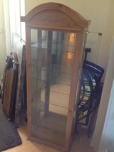 Light Wood Glass Display Cabinet with Adjustable Shelves in Bolingbrook, Illinois