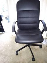 Mid-Back Black Leather And Mesh Swivel Task Chair with Arms in Travis AFB, California
