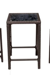 AZ Patio Heaters Dark Brown Wicker Bar Height Bistro Table only, glass top in Chicago, Illinois