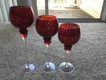 3 Red Glass Candle holders with candles Decorative centerpiece in Schaumburg, Illinois