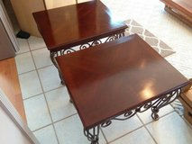 Mahogany wood - solid metal scrolled leg side tables (2) Large in Cherry Point, North Carolina
