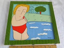 """original signed painting on wood - """" she realized she could wade by the..."""" in Bolingbrook, Illinois"""