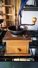 Vintage 1969 Coffee grinder with wooden handle and drawer in Morris, Illinois