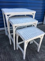 White wicker nesting tables in Travis AFB, California