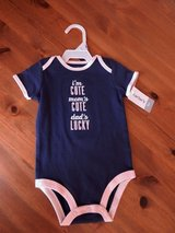 Carter's infant girl navy blue w/pink trim i'm cute onsie nwt 9 mos in Aurora, Illinois