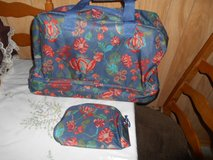 Brand New Trolley Set- Canvas Suit Case on Wheels + Cosmetic Bag! in Kingwood, Texas