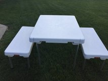 ~KIDS PICNIC TABLE AND BENCH SET~FOLDS TOGETHER AND HAS HANDLE!~ in Morris, Illinois
