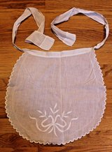 Vintage Ivory Apron, Embroidered Ribbon & Leaves, Scalloped Hem in Aurora, Illinois