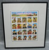 ART - Matted & Framed Legends-of-the-West Stamp Sheet from 1993 in Aurora, Illinois