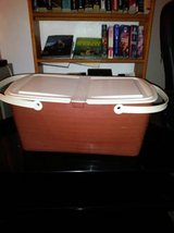 Vintage Bee Plastics Inc MID CENTURY PLASTIC PICNIC BASKET Brown White in Roseville, California